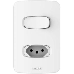Conjunto-1-Interruptor-Simples-e-1-Tomada-Gracia-4x2-20A-250V-Branco-Alumbra