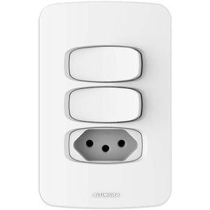 Conjunto-2-Interruptores-Simples-e-1-Tomada-2-Polos-Gracia-4x2-20A-250V-Branco-Alumbra