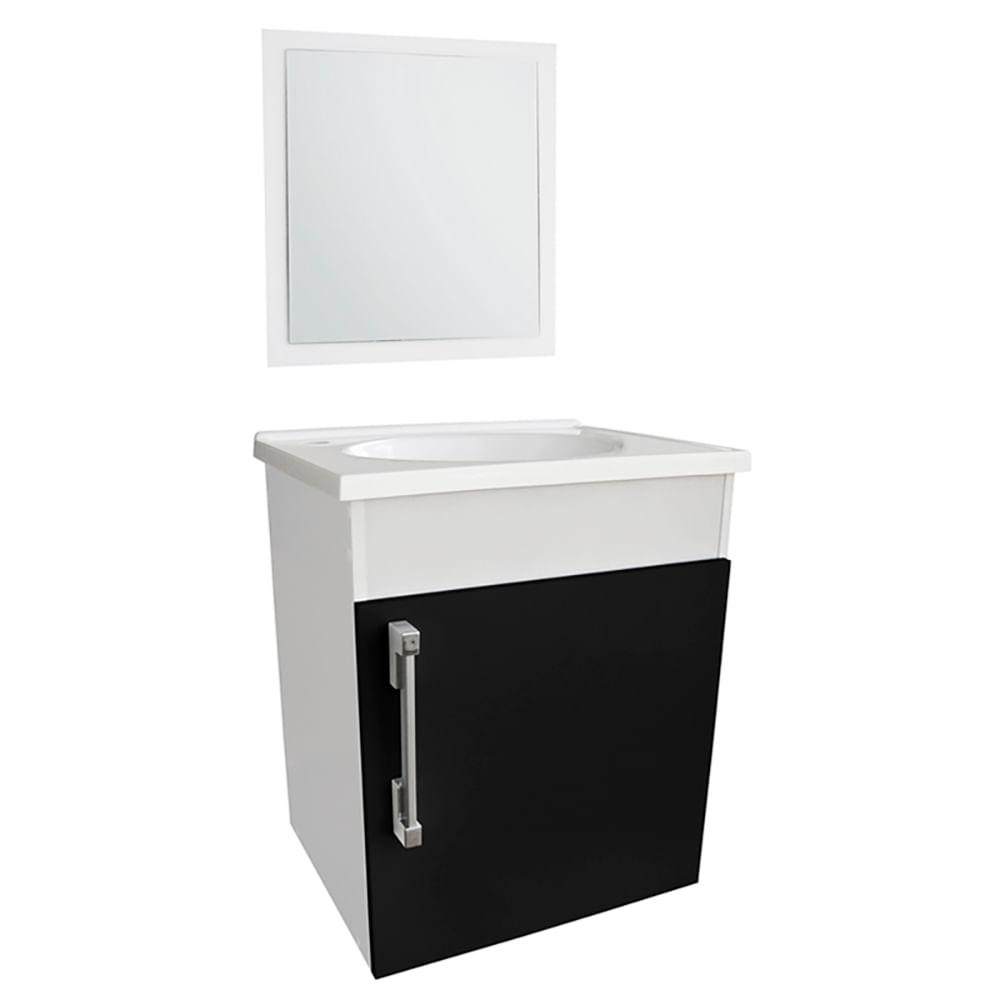 Kit-Fit-Gabinete-C--Lavatorio---Espelho-42x33x48cm-Branco-Preto-Sicmol