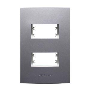 Placa-Pro-2-Modulos-Com-Suporte-Inova-4x2-Grafite-Alumbra
