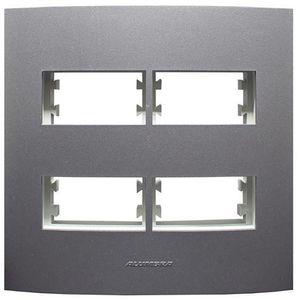 Placa-Pro-4-Modulos-Com-Suporte-Inova-4x4-Grafite-Alumbra