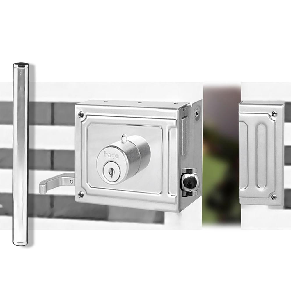 Trinco-Rolete-Com-Puxador-Para-Portao-250MM-Inox-Polido-Haga
